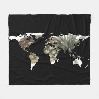 World Map Silhouette - Pineapple Fleece Blanket