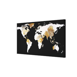 World Map Silhouette - Popcorn Canvas Print
