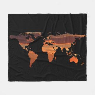 World Map Silhouette - Romantic Sunset Fleece Blanket