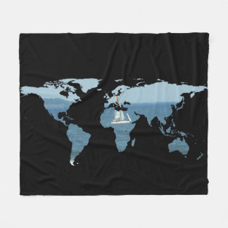 World Map Silhouette - Sailing Fleece Blanket