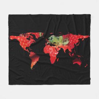World Map Silhouette - Strawberries Fleece Blanket