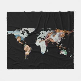 World Map Silhouette - The Creation of Adam Fleece Blanket