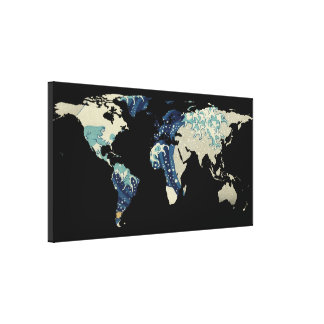 World Map Silhouette - The Great Wave Off Kanagawa Canvas Print