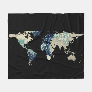 World Map Silhouette - The Great Wave Off Kanagawa Fleece Blanket