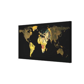 World Map Silhouette - The Kiss Gustav Klimt Canvas Print