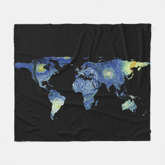 World Map Silhouette - The Starry Night Fleece Blanket