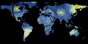 World map silhouette gifts on zazzle au world map silhouette the starry night poster gumiabroncs Gallery