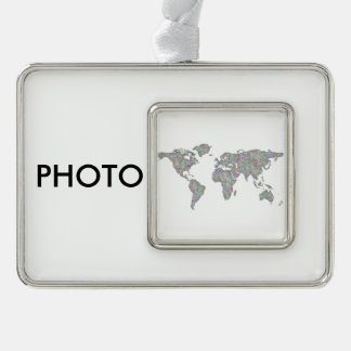 World map silver plated framed ornament
