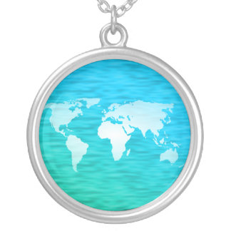 World Map Silver Plated Necklace