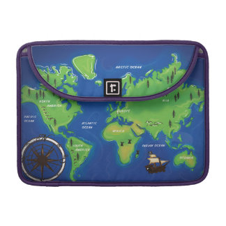 World Map Sleeve For MacBook Pro