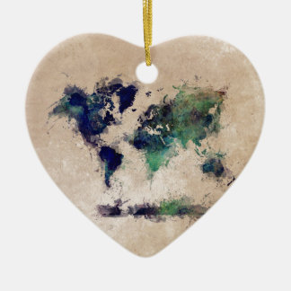 world map splash ceramic ornament