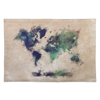 world map splash placemat