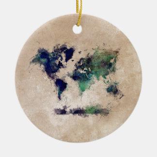world map splash round ceramic decoration