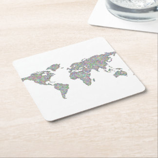 World map square paper coaster