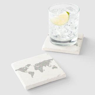 World map stone coaster