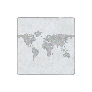 World map stone magnet