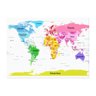 World Map Stretched Canvas Prints