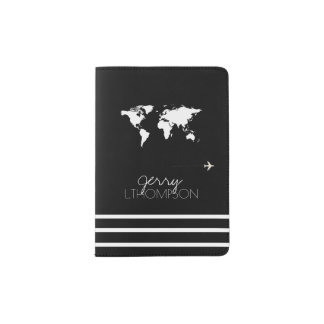 world map travel document / black & white passport holder