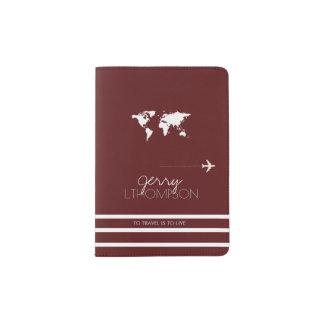 world map travel document / dark red passport holder