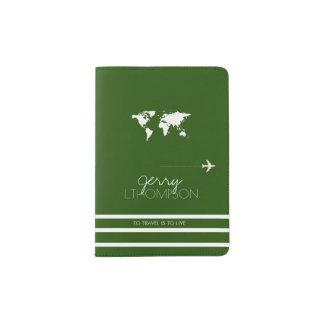 world map travel document / green passport holder