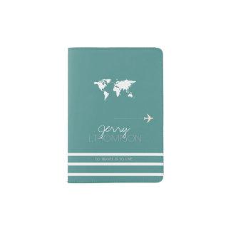 world map travel document / turquoise passport holder