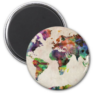 World Map Urban Watercolor 6 Cm Round Magnet