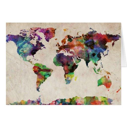 World Map Urban Watercolor Card