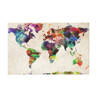 World Map Urban Watercolor Gallery Wrap Canvas