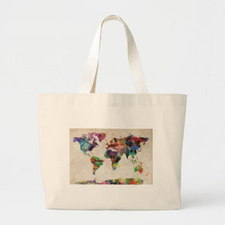 World Map Urban Watercolor Jumbo Tote Bag