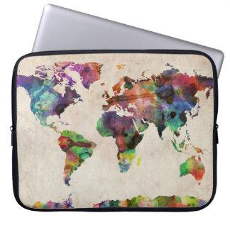 World Map Urban Watercolor Laptop Sleeve