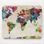 World Map Urban Watercolor Mouse Pad