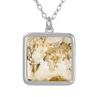 world map vintage 1 silver plated necklace