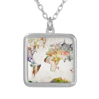 world map vintage 2 silver plated necklace