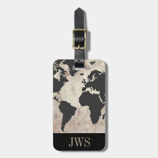 World Map Vintage Initial Luggage Tag