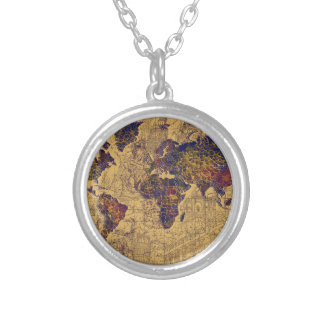 world map vintage silver plated necklace