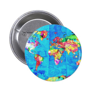 world map watercolor  10 6 cm round badge