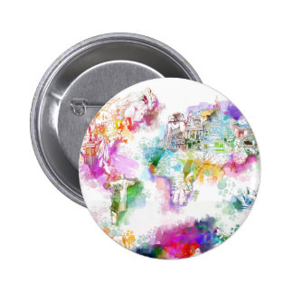 world map watercolor  12 6 cm round badge