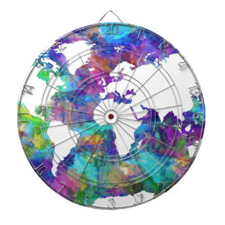world map watercolor  13 dartboard