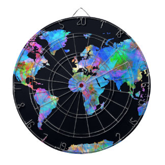 world map watercolor  14 dartboard