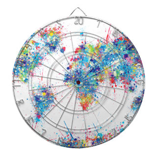 world map watercolor 17 dartboard