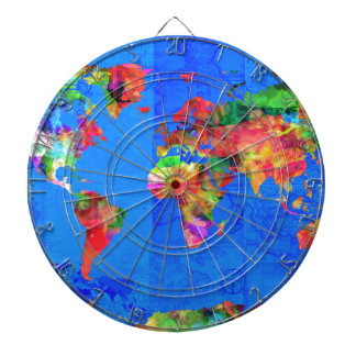 world map watercolor  1 dartboard