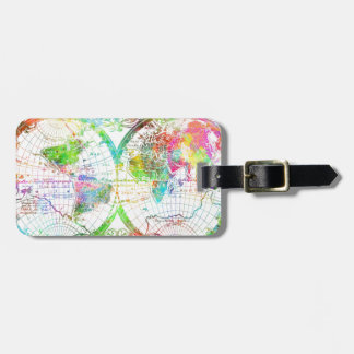 world map watercolor 27 luggage tag
