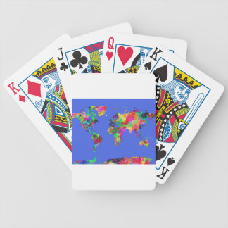 world map watercolor 30 bicycle playing cards