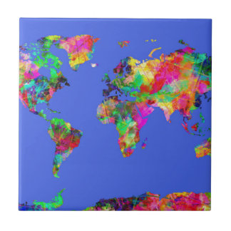 world map watercolor 30 ceramic tile