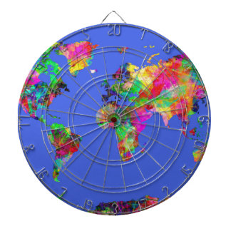 world map watercolor 30 dartboard