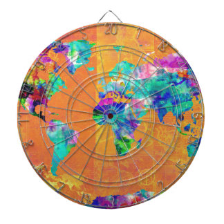 world map watercolor 3 dartboard
