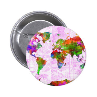 world map watercolor  4 6 cm round badge