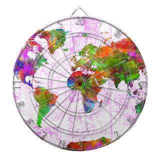 world map watercolor  4 dartboard