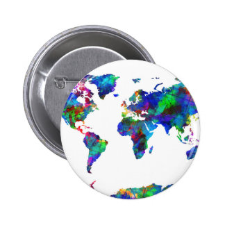 world map watercolor 6 6 cm round badge