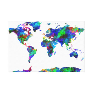 world map watercolor  6 canvas prints